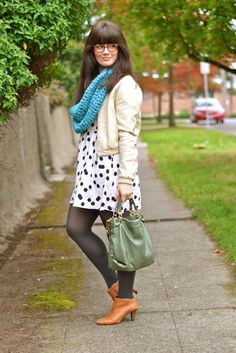 polka dots, leather, chunky infinity scarf, cognac booties. lindsayliving.com