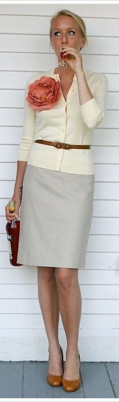 Outfit Posts: outfit post: grey skirt. cream sweater, orange flower