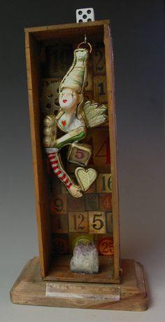 Assemblage Circus Liar mixed media shadow box by SusanSorrentino, $250.00