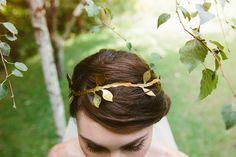 gold leaf headband, photo by Lad & Lass Photography http://ruffledblog.com/turbine-hall-wedding #bridal #hairaccessories