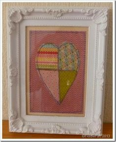 framed machine sewn paper heart