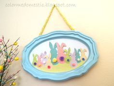 Cute Easter project:  bunny family with Pom tails