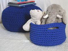 Cobalt Blue Crochet Basket  Royal Blue Storage by LoopingHome