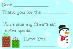 Fill-in-the-Blank Christmas Thank You Cards - Free Printable
