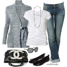 grey sweater / white t-shirt / jeans / black flats