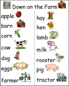 farm mini poster word wall