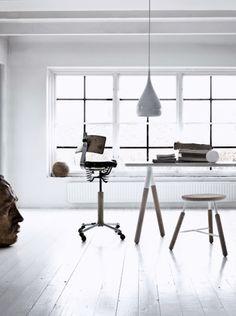 architect, studio, interior, floor, white walls, stool, desk, home offices, workspac