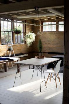 Oak and steel desk