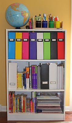 School StationDesignate a space in your home or even just a bookshelf to be a place for all school related items like dictionaries, homework and supplies.