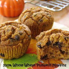 Whole Wheat Pumpkin Muffins dotted with chocolate chips. Easy fall recipe packed with healthy ingredients!