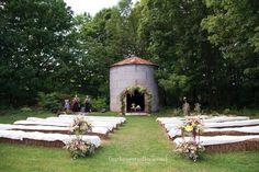 Door County Wedding | Farm Wedding | Woodwalk Gallery Wedding silo, farm ceremony, hay bale seating, organic florals  Florals by Flora photo by m three studio photography