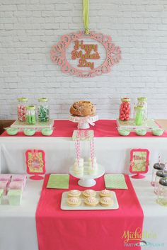 Beautiful dessert table at a Mother's Day Party!  See more party ideas at CatchMyParty.com
