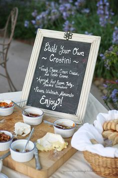 Build your own crostini bar! So cute and creative! Have a variety of cheeses, spreads and toppings to choose from. http://clvr.li/spellegrinosweeps #LiveOffTheMenu #SanPellegrino #sponsored