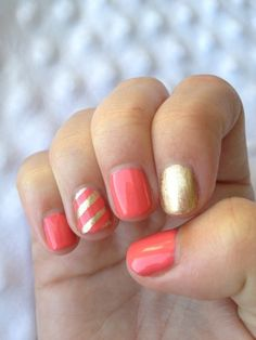 coral and gold DIY manicure... perfect summer nails!