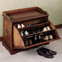 bench and shoe storage idea - for the bedroom