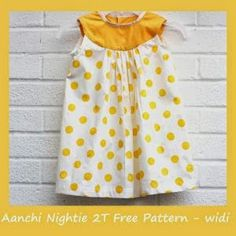 Aanchi Nightie 2T- free pattern for a round yoke sundress. via WIDI creations