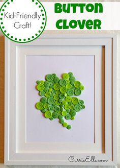craft kids, diy crafts, button crafts, clover craft, st patricks day, home decorations, diy home, kid crafts, button clover