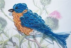 Wow, I cannot imagine the amount of time it took to make this!  Paper quilling bluebird ornament, bluebirds, craft idea, quill bird, quilled birds, paper quilling, photo backgrounds, ornaments, eastern bluebird