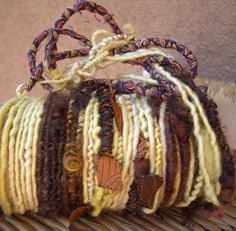 "MyMixMix on Etsy. ""Monarch Butterfly"" poquito skein of mixed fiber hand-spun art yarn."