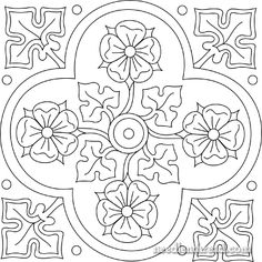 Free Hand Embroidery Pattern: Quatrefoiled Rose.  (This would also be awsome painted on the wooden box I'm doing).