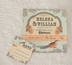 Love these Vintage Bird Wedding Invitations in Peach and Duck Egg Blue from Inthetreehouse.co.uk