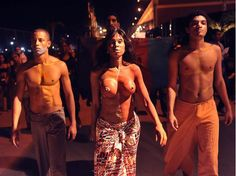 Afro-Brazilian models go topless to bring attention to the invisibility of black models in Brazil's top fashion shows.