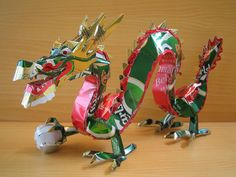 artceramicssculptur inspir, sculptures, recycled cans, makaon, beer, dragons, hecha con, can art, aluminum cans