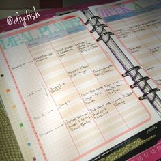 Use Week-on-2-pages vertical as weekly meal planner - DIYfish lifemapping system
