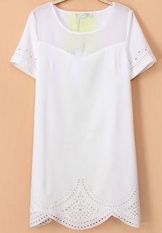 White Short Sleeve Hollow Slim Dress US$31.67