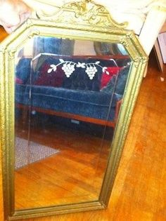 Vintage Antique Gesso Carved Gold Gilt Wood Wooden Wall Mirror Frame Etched