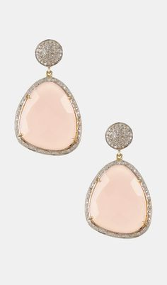 Rose Quartz & White Diamond Earrings