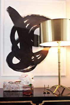 Black And White Abstract, brass accents