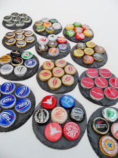 Custom Bottle Cap Slate Coasters by @ScatteredTreasures Etsy