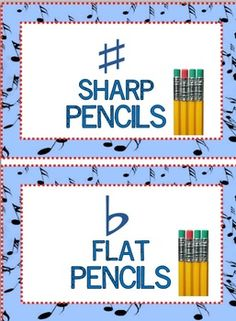 FREE Download: Sharp and Flat Labels for Pencil Containers. Labels come in yellow, blue and green!