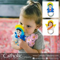 We love these new baby rattle toys designed by Catholic parents! Available in Blessed Virgin Mary & Guardian Angel. #CatholicKids