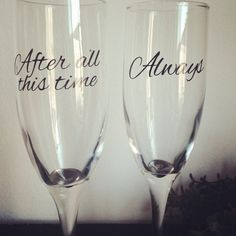 After all this time Always champagne flutes  on Etsy, $18.00 Harry Potter wedding glasses bride and groom glasses