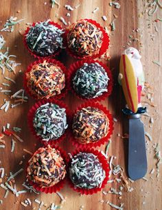 Try these healthful chocolate truffles on for size - a nice addition to dessert platters or a small gift idea!