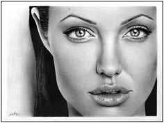 Angelina Jolie - The artist Linda Huber is dedicated to making incredibly realistic pencil drawings.  She is a self taught professional pencil artist. It takes her two to four days to draw one portrait.  While looking on her drawings, you will be amazed how they are realistic. When I first saw them I believed I was looking at a gray-scale photography but no, all of them are drawn by hand.