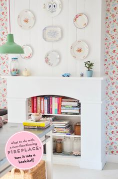 Turn a non-functioning fireplace into a bookshelf | At Home in Love