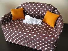 couch using a kleenex box