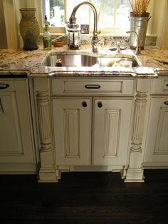 Glazed Kitchen Cabinets, white cabinets with dark wood floors. Love!!