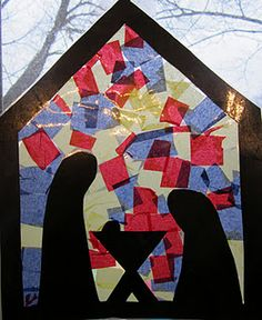 Nativity Stained Glass - no glue, no mess!