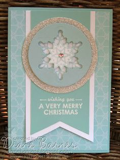Stampin! Up! Festive Flurry - Wishing You - Winter Frost Christmas card by colourmehappy Di Barnes #stampinup, #festive flurry, #colourmehap...