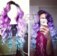 Pastel purple to blue ombre dip dyed wig