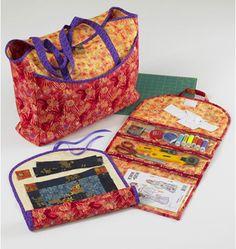 This Bag, Quilt Roll and Organizer are designed for woven fabrics. We suggest cotton, cotton types, calico, nylon, poplin, decorator fabrics, denim, and twill.     This Pattern contains a bag, quilt roll and organizer.