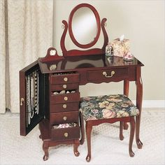 Makeup and Jewelry Armoire Vanity Table Set with Mirror