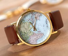 map watch, fashion, wrist watches, world maps, fathers day gifts, vintage style, men watches, leather bracelets, christmas gifts