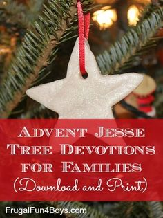 Advent Jesse Tree Devotions to download and print!  Each day includes a scripture reading, a lesson to read with your children, and a prayer idea, and an ornament symbol.  The post has a sample day included.