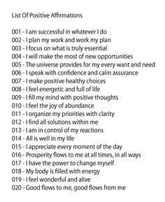 9.16.2013  List of Positive Affirmations     ♥