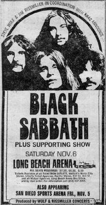Black Sabbath November 6, 1976 Long Beach Arena